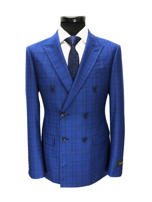 Royal blue prince of wales check double breasted suit - Pamoni