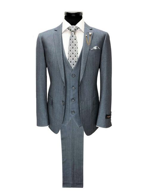 Grey striped 2 button 3-piece suit - Pamoni