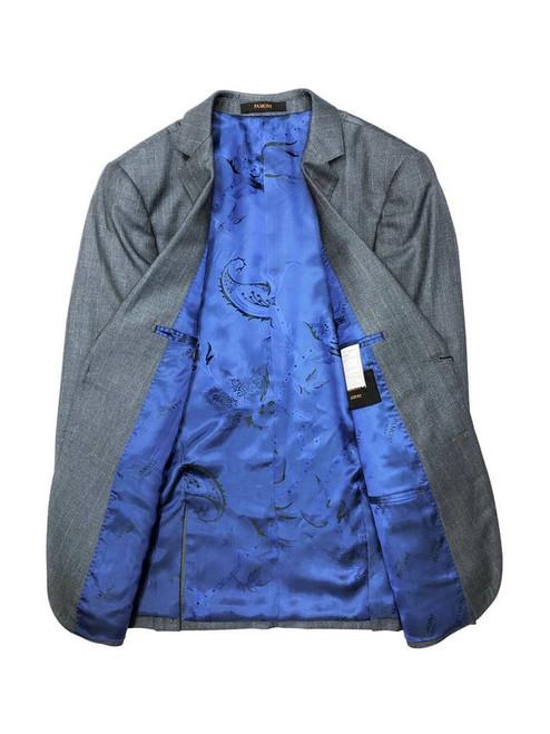 Grey blazer with blue paisley inside lining - Pamoni