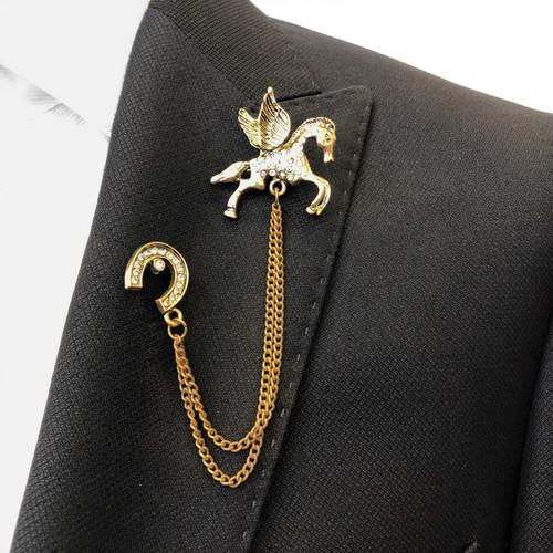 Jewelled Pegasus Chain Lapel Pin