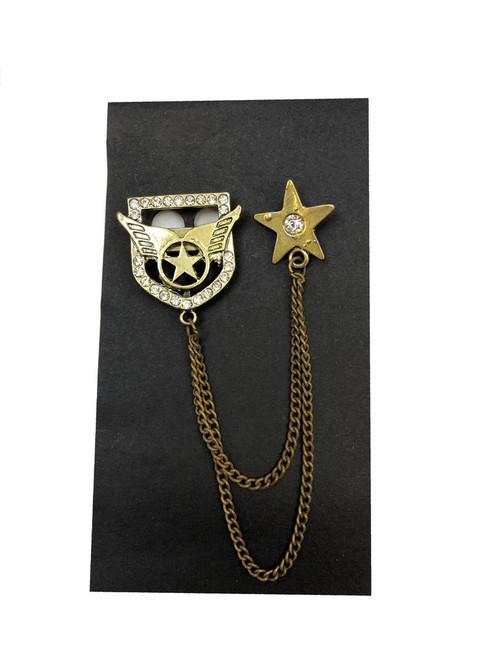 Winged heraldic emblem chained lapel pin - Pamoni
