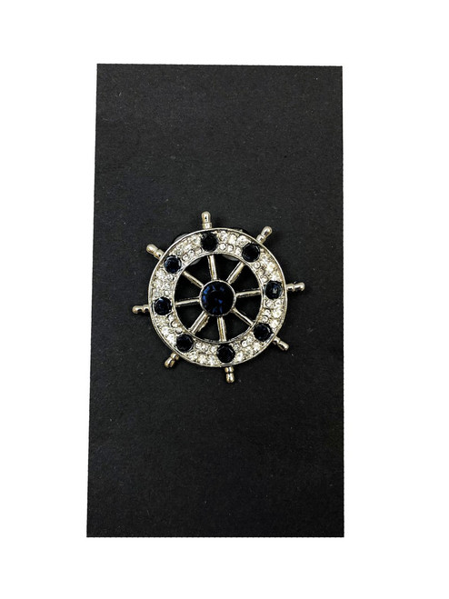 Jeweled Ship's Wheel Lapel Pin