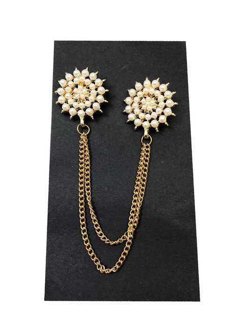 Pearl halftone-radial chain lapel pin - Pamoni