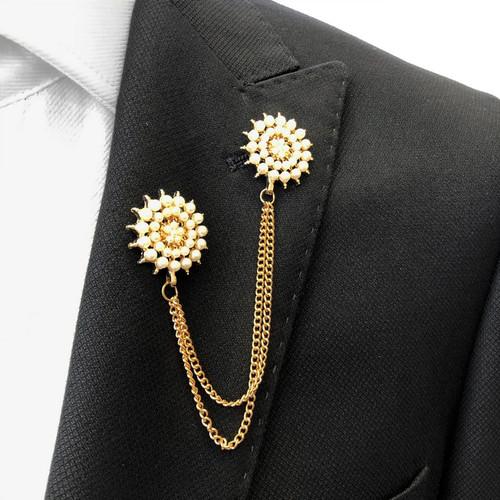Pearle halftone-radial chain lapel pin - Pamoni