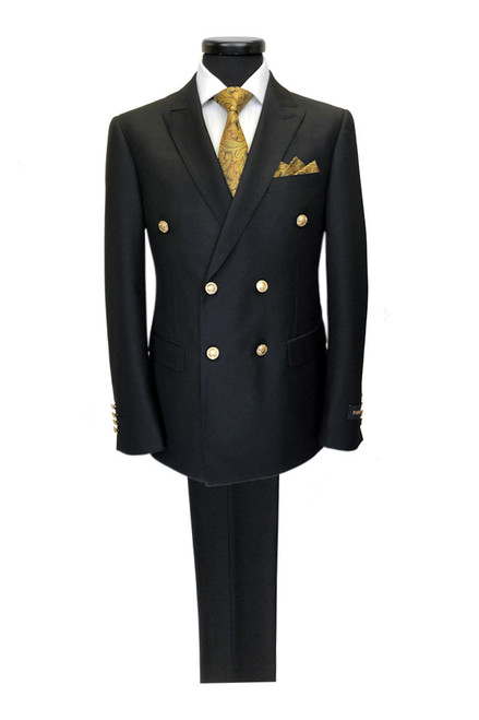 Black Double Breasted Suit With Gold Buttons