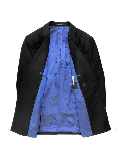 Black Double Breasted blazer with blue floral lining