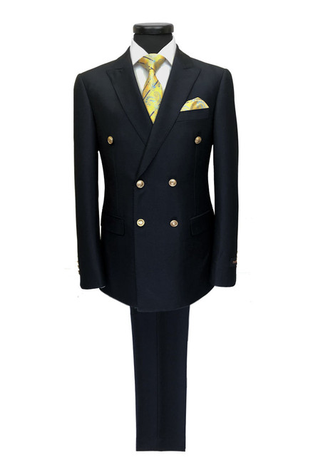 Navy Double Breasted Suit With Gold Buttons