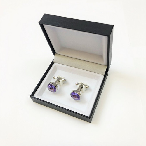 Round Gemstone Cufflinks in Pamoni presentation cufflink box