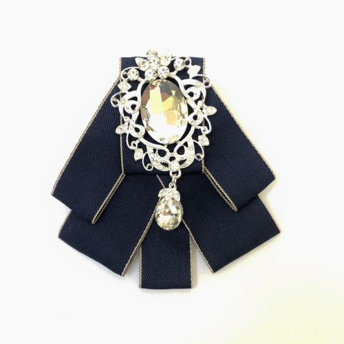 Navy rhinestone embellished ribbon bow tie