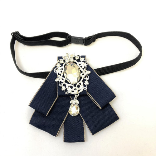 Navy rhinestone embellished ribbon bow tie with adjustable strap