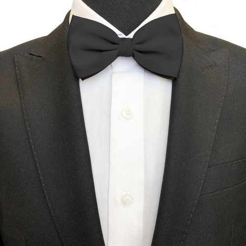 Classic black bow tie on model