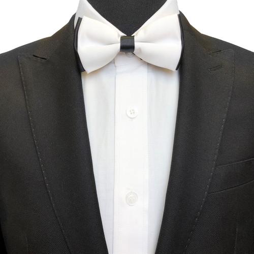 White & black double coloured bow tie