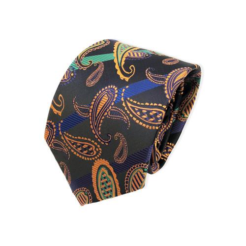 Black Orange Paisley Tie