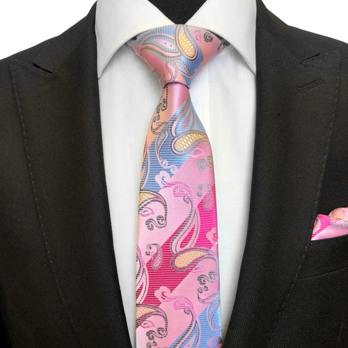 Pink & Blue Paisley Tie On Model