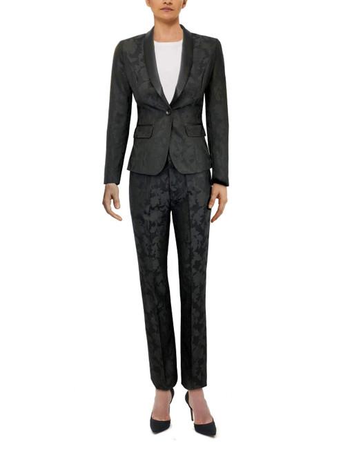 Black Floral Trousers Suit