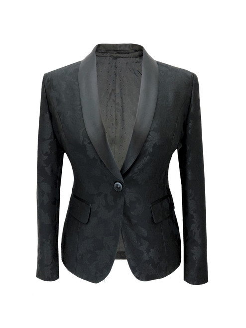 Black Floral Trousers Suit Jacket