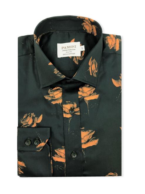 Green Gold Flower Print Shirt