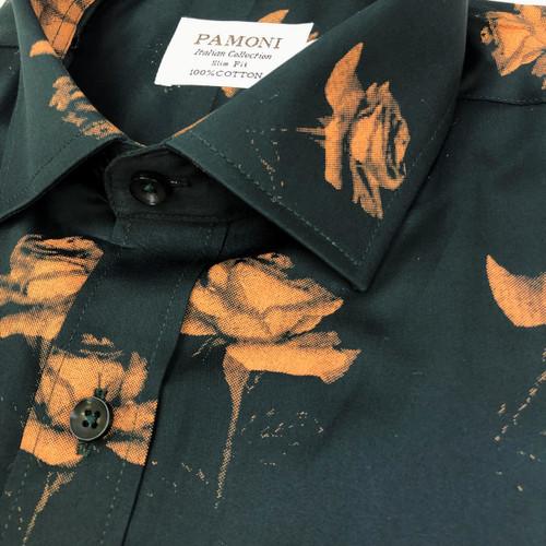 Green Gold Flower Print Shirt Close Up