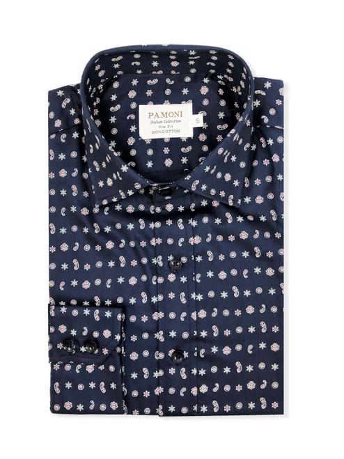 Navy Print Slim Fit Shirt Men's Shirt