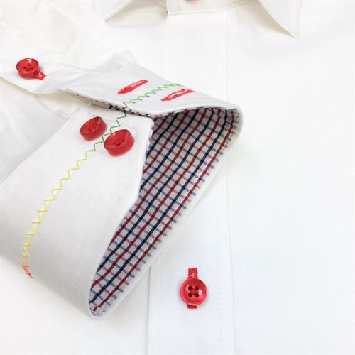 White Rainbow Stitch Slim Fit Shirt