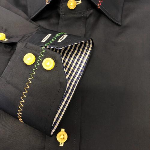 Black Rainbow Stitch Slim Fit Shirt