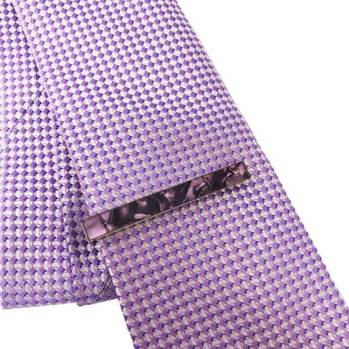 Purple Marble Effect Tie Clip