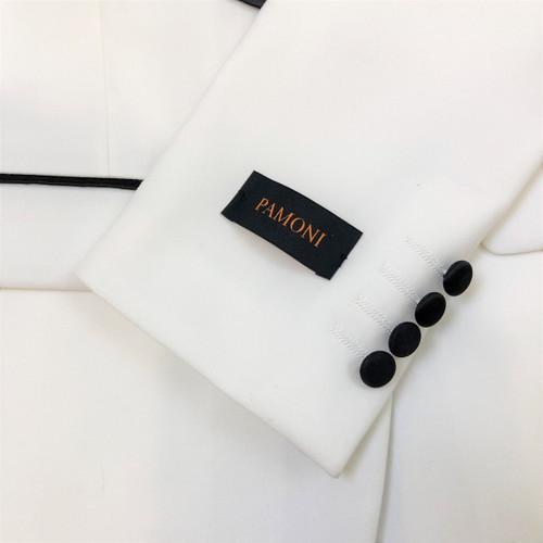 White 3-Piece Tuxedo with Black Shawl Lapel Close Up