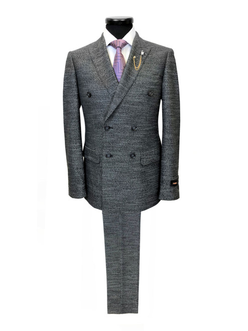 Charcoal Birdseye Double Breasted Suit