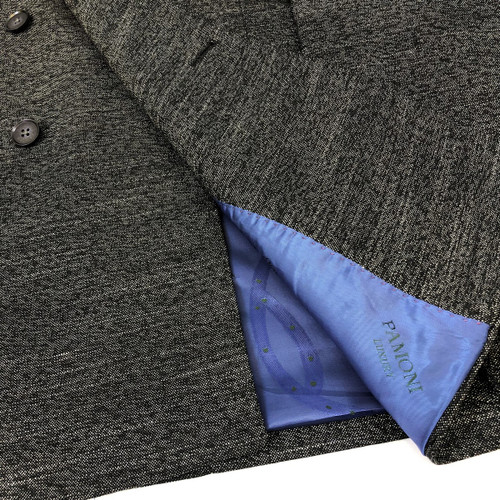 Charcoal Birdseye Double Breasted Suit Close Up