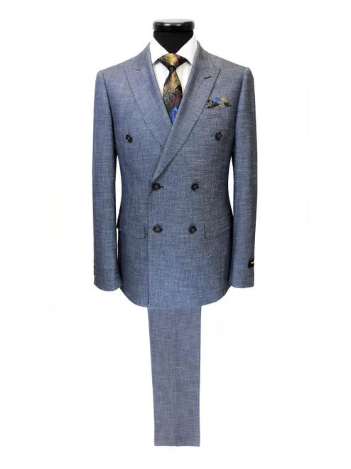 Blue Birdseye Double Breasted Suit