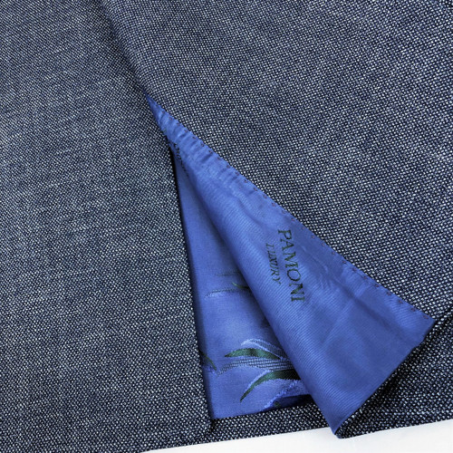 Blue Birdseye Double Breasted Suit Close Up