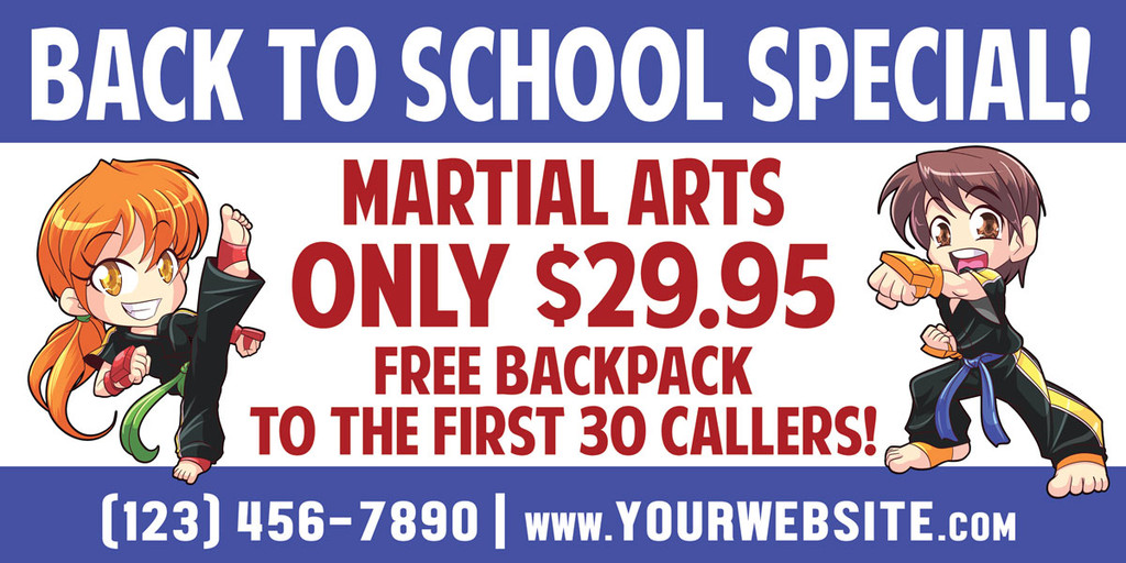 NEW!! Back to School Martial Arts Vinyl Banner V1
