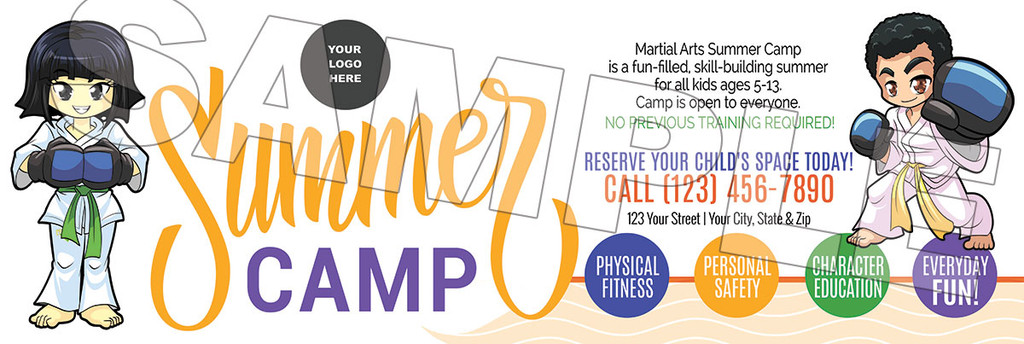 **NEW!! Martial Arts Summer Camp V1 Vinyl Banner