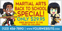NEW!! Back to School Martial Arts Vinyl Banner V2