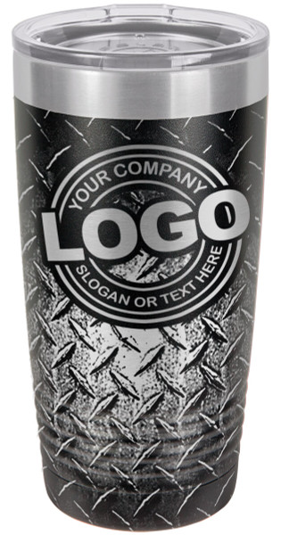 360 Laser engraved Diamond Plate background with [YOUR LOGO] or Text personaized