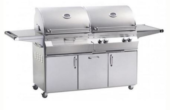Fire Magic A830s-6EAN-61-CB Aurora Gas & Charcoal Grill With Single Side Burner, Rotisserie Backburner, & Grill Light On Cart