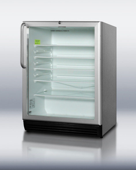 Summit SCR600LOS Stainless Steel 5.5 Cu. Ft. Outdoor Beverage Refrigerator With Glass Door