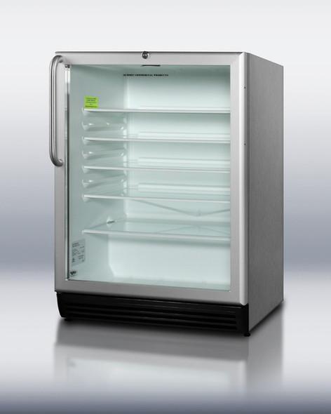 Summit SCR600LOS Stainless Steel 5.5 Cu. Ft. Outdoor Beverage Refrigerator With Glass Door