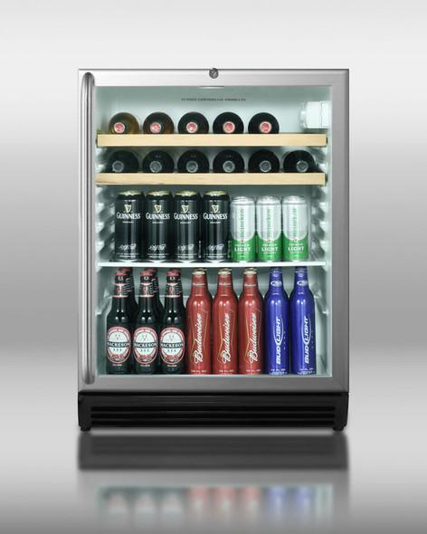 Summit SCR600LOSRC Stainless Steel 5.5 Cu. Ft. Outdoor Beverage Refrigerator With Wood Wine Shelves & Glass Door