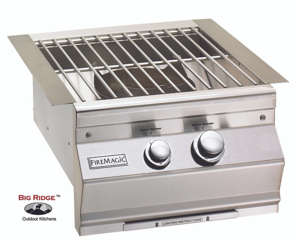 Fire Magic 19-S0B1N-0 Aurora Built-In Power Burner Featuring Cast Brass Burner and Stainless Steel Grid