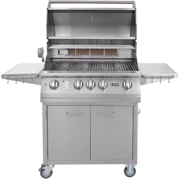 Lion 75623 + 53621 32-Inch Stainless Steel Stand Alone Propane Or Natural Gas Grill With Premium Cart