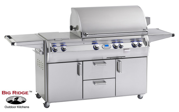 Fire Magic E790s-4E1N-62 Echelon Diamond 36-Inch Gas Grill With Flush Mounted Single Side Burner, Wood Chip Smoker Drawer, & Rotisserie Backburner On Cart + Optional FREE Infrared Burner!