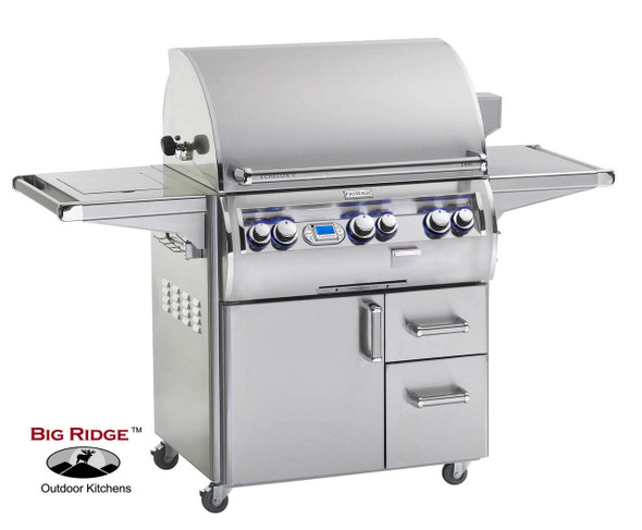 Fire Magic E660s-4E1N-62 Echelon Diamond 30-Inch Gas Grill With Flush Mounted Single Side Burner, Wood Chip Smoker Drawer, & Rotisserie Backburner On Cart + Optional FREE Infrared Burner!