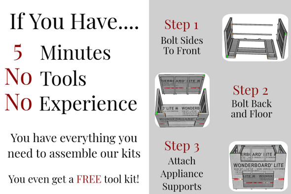 "43"" - 48"" DIY Outdoor Kitchen Frame Kits"