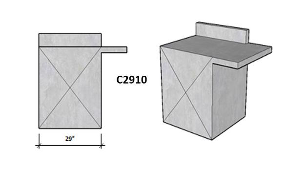 Side 1 Backsplash - Side 2 Level Overhang Seating