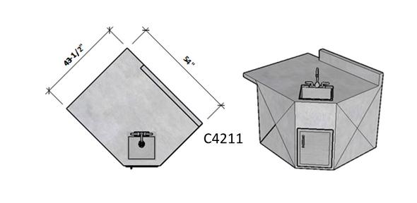 Side 1 Level Overhang Seating - Side 2 Backsplash