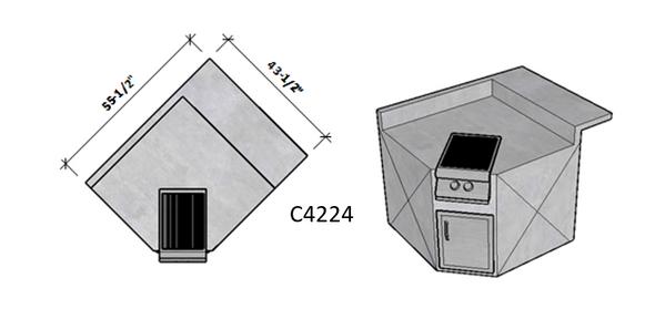 Side 1 Backsplash – Side 2 Raised Bar Seating