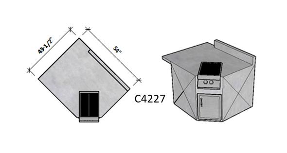 Side 1 Level Overhang Seating – Side 2 Backsplash
