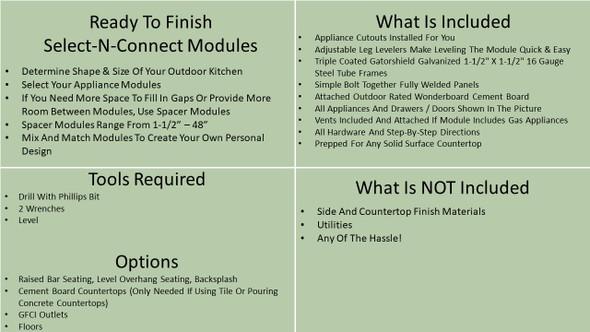 "Ready To Finish SNC 42"" Backsplash Module With 15"" Refrigerator"
