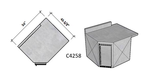 Side 1 Backsplash – Side 2 Level Overhang Seating